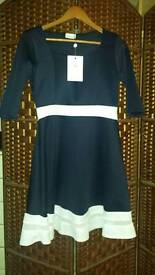 Brand new! Navy and white skater style dress size 16