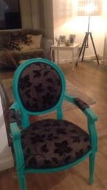 Vintage armchair with blue velvet