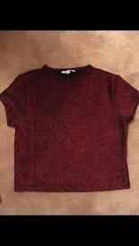 New girls sparkly red crop top t-shirt ideal discos age 9-10 years. Drayton