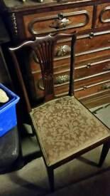 Nice upholstered hardwood chair work fretwork back
