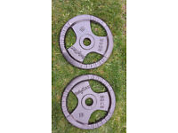 Another pair of 20kg cast iron olympic weight plates.