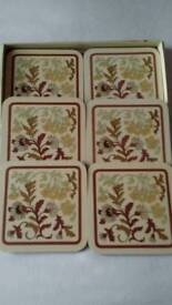 New set of 6 Melamine Cup Coasters,in box.