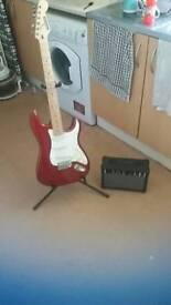 Bluerock Stratocaster electric guitar with amp