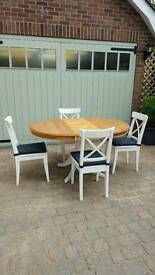 Solid pine table & 4 ikea chairs, shabby chic style