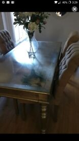 Silver leaf dining table and 4 chairs for sale