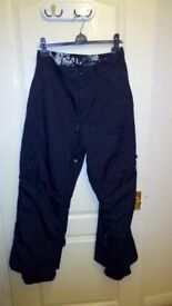 Snow Board Trousers, medium size 34 mens, breathable, waterproof, VGC.
