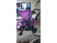 Jane Twone travel system tandem twin pram with car seat and raincover and footmuffs RRP over £1000