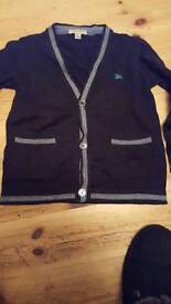 Boys burberry navy cardigan