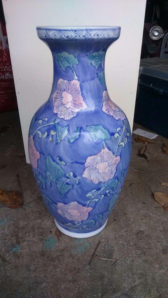 large blue floral vase