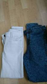 White and blue size 10 jeans