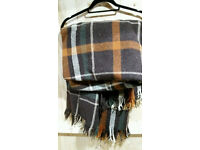 True Vintage Retro Wool Blanket Check Throw