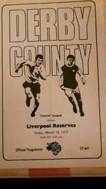 Derby County reserves v Liverpool reserves 1971 football programme