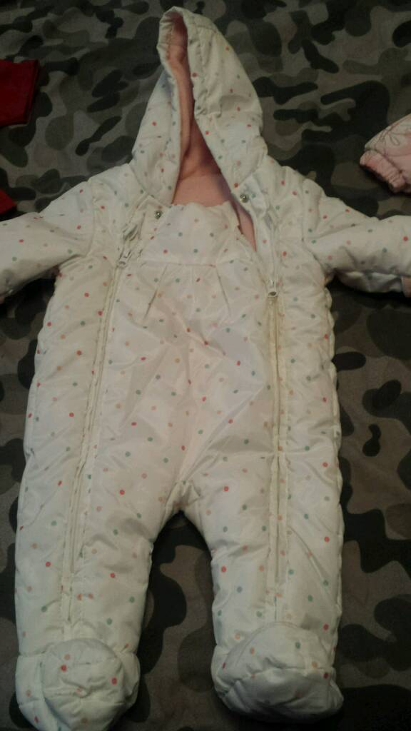 3-6 months spotted snowsuit