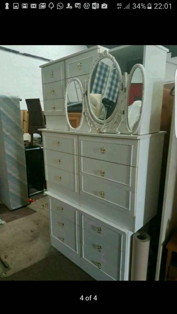 White bedroom furniture for sale good conditionin Wavertree, MerseysideGumtree - White furniture 6 pieces for sale.good clean condition can river for free local