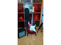 Yamaha Pacifica guitar and Cruzer amp with guitar stand , case and music stand