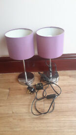 Pair of silver coloured bedside table lamps