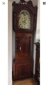 Antique Georgian mahogany long case clock with passing moon