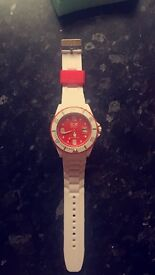 White and red ice watch