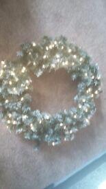 Large Christmas Artificial Pine Pre Lit Wreath. . . . 30 inch diameter