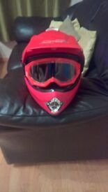 kids dirt bike helmet and goggles