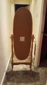 Excellent Condition Pine Free Standing Cheval Mirror