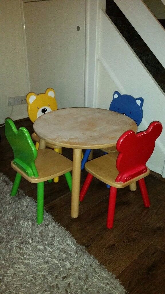 John Crane Childrens Set Of Wooden Animal Chairs And Table In - Animal-chairs-for-children