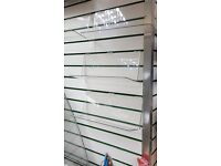 Clear plastic shelves