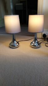 Brand new dimmable chrome lamps including LED bulbs
