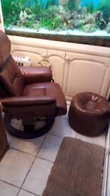 Leather recliner and pouffe