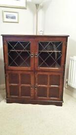 Dark Wood Display Cabinet/Bookshelf with Cupboard