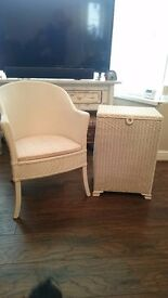 Gorgeous cream solid wicker chair and matching laundry/ blanket box