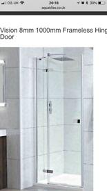 1000mm Frameless Hinged Pivot Shower Door
