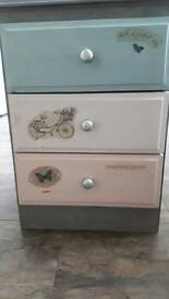 Vintage shabby chic painted bedside cabinet with decaupage detail