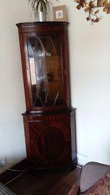 Dark wood tall corner unit with glass door
