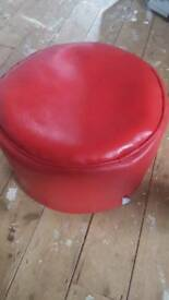 Red leather foot rest
