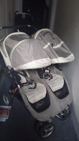 Baby jogger city mini grey double buggy pram pushchair