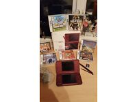 Nintendo DSi XL wine red colour and games