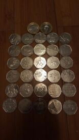 50p collection including two 2 pound coins