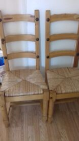 Solid pine wicker dining chairs