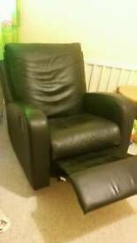 Black leather reclining armchair