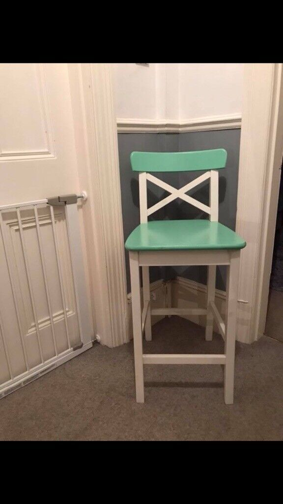 Incredible Ikea Tall Wooden Chair Bar Stool Painted Green White In Brighton East Sussex Gumtree Creativecarmelina Interior Chair Design Creativecarmelinacom