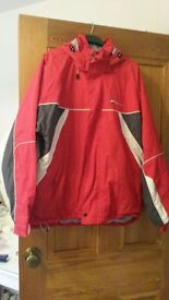 Mens 'Dare to Be' red and grey ski jacket with removable hood and ski skirt -size Medium