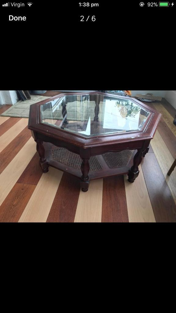 Round glaaa coffee table, dining table *** Antique ***