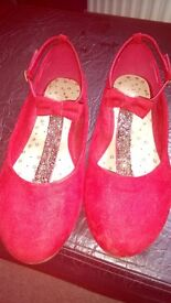 Girls Red bar shoe size 3 (next) lovely condition only worn a few times