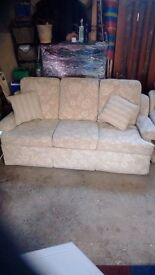 Light coloured sofa and two single seats in perfect condition