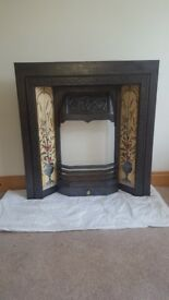 Cast Iron fireplace surround, front grate and valance with tile motif