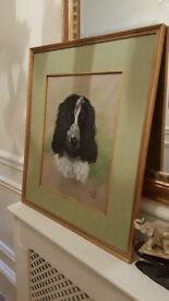 original painting of a spaniel, listed artist
