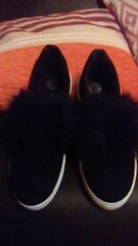 River Island black pumps with black fur.