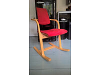 Varier Actulum TenTwo dining/computer chair, wood frame with red cover