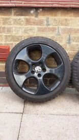 "Set of 4 17"" Genuine Monza Alloys Powdercoated in black. Very good Dunlop Sport Tyres All round"